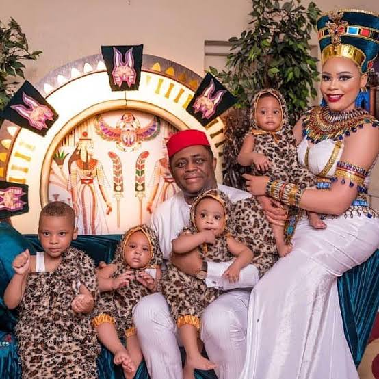 Femi Fani-Kayode, with his estranged wife, Precious Chikwendu and their sons