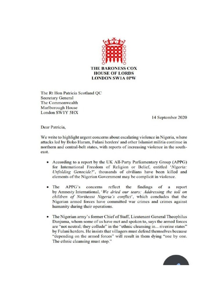 Letter to the British Commonwealth complaining about unchecked killings in Nigeria
