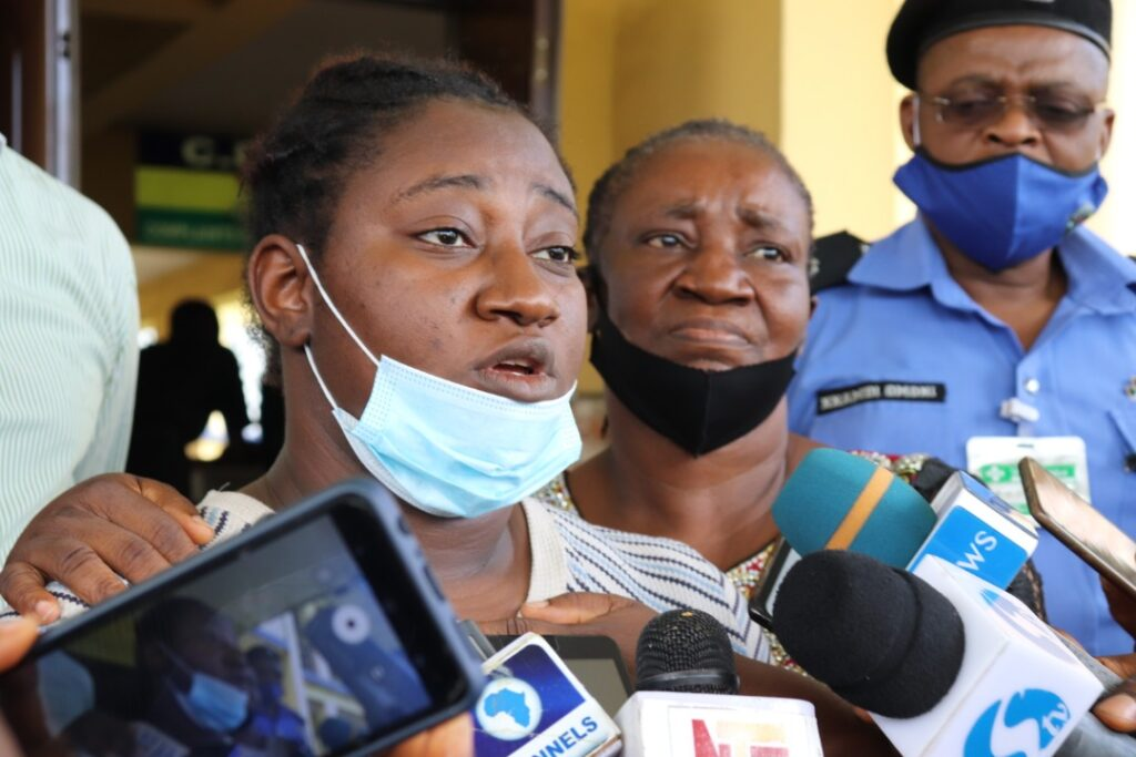 Bisola Ajayi, Kidnaped Port Harcourt Lawyer talking to newsmen about her ordeal