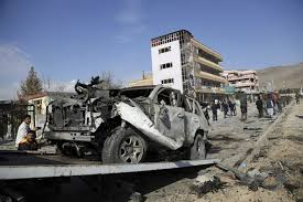 Building and cars razed down during a car bomb blast