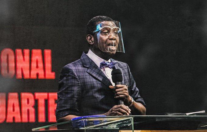 RCCG G.O Daddy Adeboye with face shield on