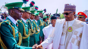 president inspecting soldiers