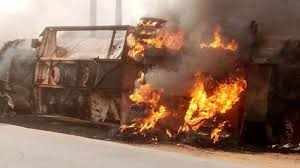vehicle carrying fuel catches fire