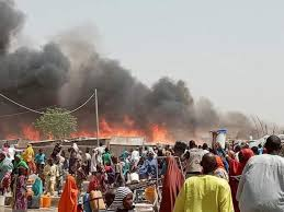 fire burns houses in the North
