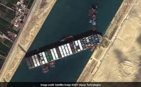 ship carrying container stuck in the Suez canal