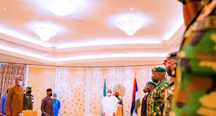 president Buhari in a meeting with security chiefs